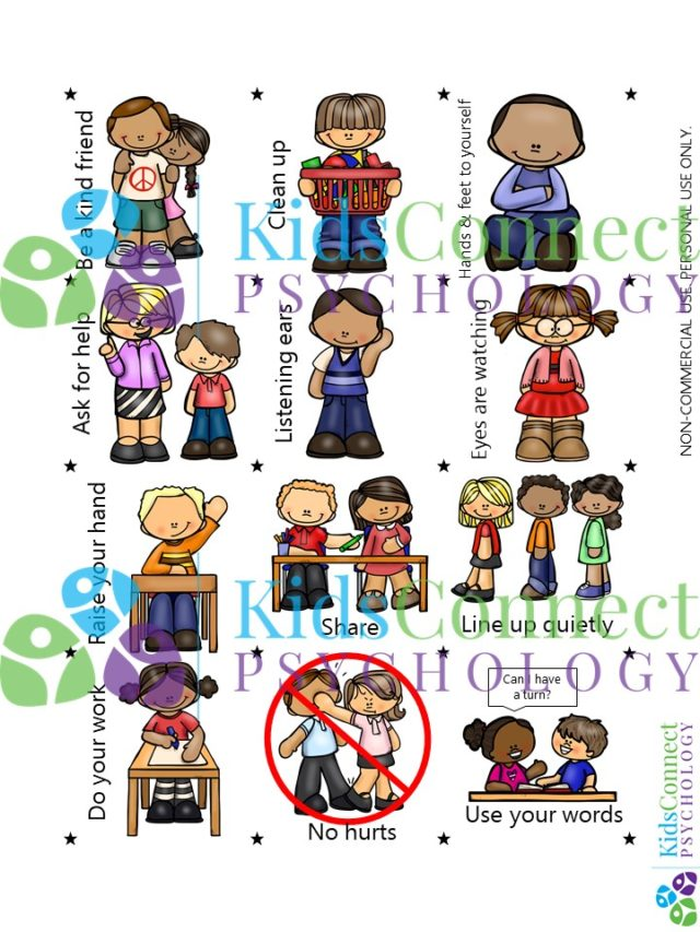 three by four grid of different rules children should follow in the classroom and at home.